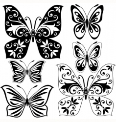 Set black and white butterflies vector