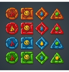 set colored stone buttons for a computer game vector image