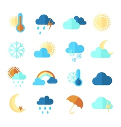 set colorful flat weather icons vector image