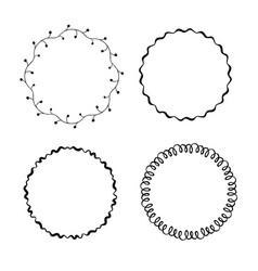 Set hand drawn round frames vector