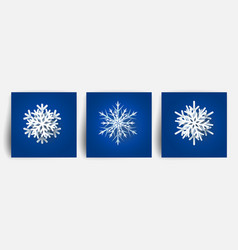 set of christmas snowflakes paper cut 3d design vector image