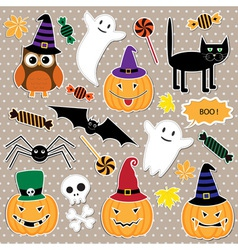 set of Halloween stickers vector image vector image