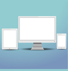 set of modern digital devices computer monitor ta vector image