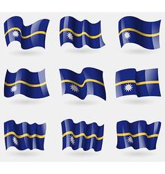 Set of Nauru flags in the air vector image vector image