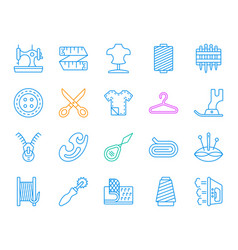 Sewing simple color line icons set vector