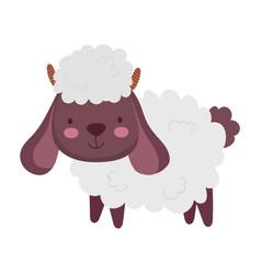 Sheep cartoon farm animal isolated icon on white vector