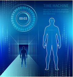silhouette of a man next to a time machine vector image