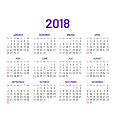 simple wall calendar 2018 year flat isolated vector image