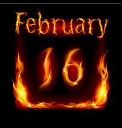 Sixteenth february in calendar of fire icon on vector