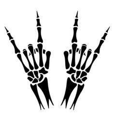 Skeleton hands heavy metal sign vector