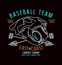 Skull animal Baseball team emblem vector image