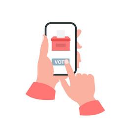 Smartphone your hand concept vote vector