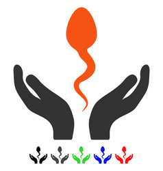 Sperm care hands flat icon vector
