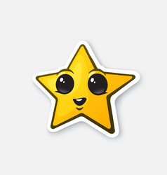 Sticker funny gold star with happy eyes vector