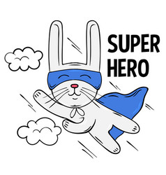 Superhero cute white rabbit design vector