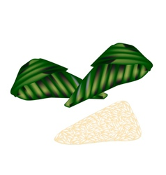Thai Roasted Sticky Rice with Ripe Banana vector