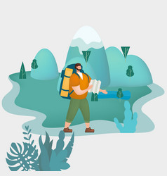 tourist man with map and backpack performing vector image