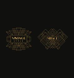 vintage style logo templates set luxury art deco vector image