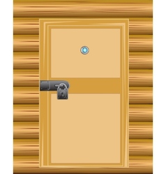 Wall with door on lock vector image