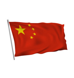 waving in wind flag of china on pole vector image