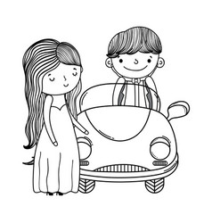 wedding couple and car cute cartoon in black and vector image