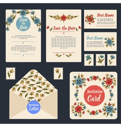 Wedding Invitation Stationary Set Floral Decor vector image