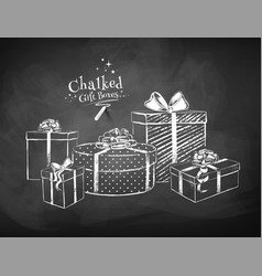 white chalk sketches gift boxes vector image
