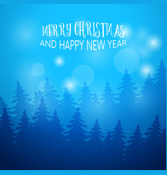 winter background with fir forest greeting card vector image