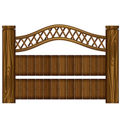 Wooden fence design on white vector