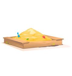 Wooden sandbox with sand vector