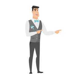 young caucasian groom pointing to the side vector image