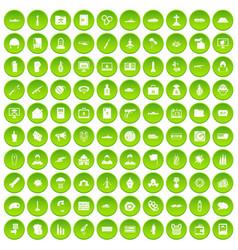 100 vogue icons set green circle vector