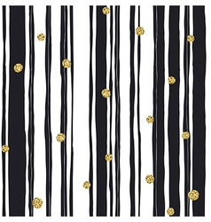 Black stripes seamless pattern and golden dots vector image vector image