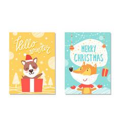 hello winter christmas poster vector image vector image