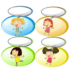 Little girls and communication bubbles vector image vector image