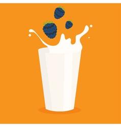 milk splash in the glass and blackberry vector image vector image