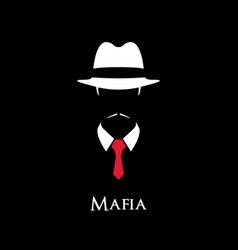 white silhouette of an italian mafia vector image