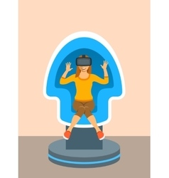 Woman virtual reality glasses in chair simulator vector