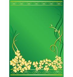 elegant green frame with flora vector image vector image