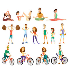 fitness cartoon characters icons set vector image vector image