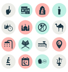 Religion icons set collection of body cleansing vector