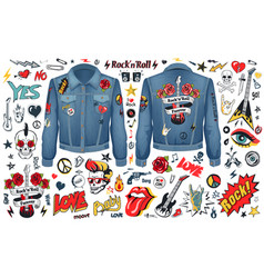 rock and roll theme icons set vector image vector image