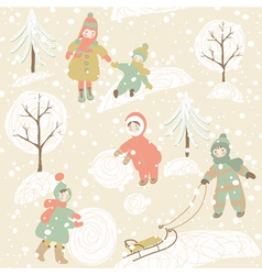 Winter background with children vector image vector image