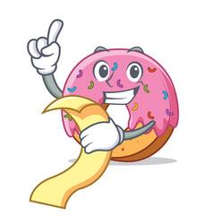 with menu donut mascot cartoon style vector image