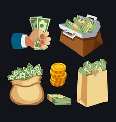 dollar paper business finance money stack in bag vector image