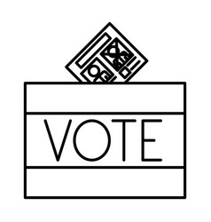 Isolated box and paper card of vote design vector