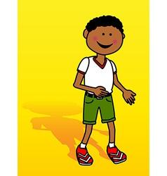 Little black boy over yellow vector image vector image