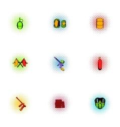 Paintball club icons set pop-art style vector