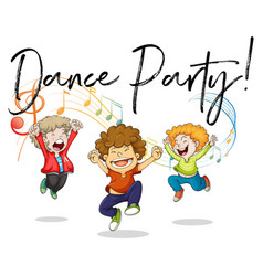 three boys dancing with music notes in back vector image vector image