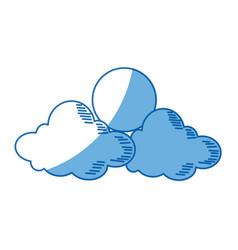 cartoon sun and cloud sky weather icon vector image